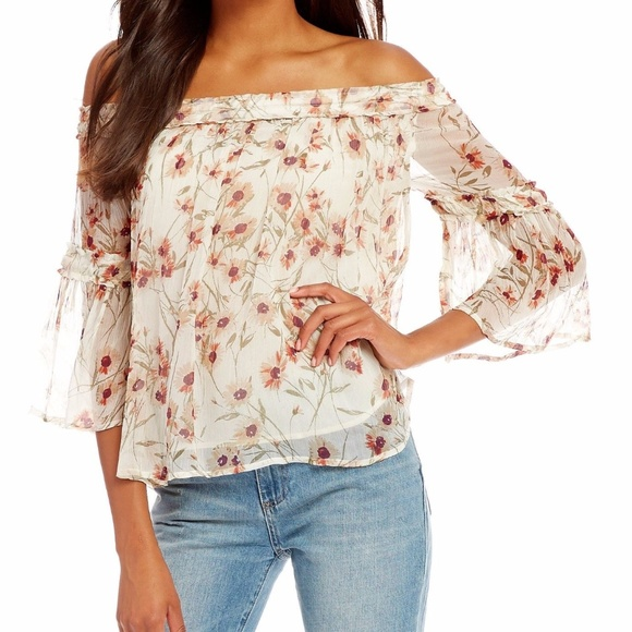 26486175417 Lucky Brand Shirred 3 4 Bell Sleeve Off Shoulder M
